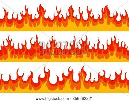 Flame Borders. Fire Blazing Banner, Heat Burn Wildfire Silhouette Flammable Elements, Hot Flaming Bo