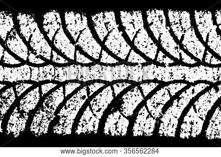 Tyre Imprint Texture. Tire Mark Background. Wheel Trail Pattern.