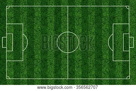 Realistic Soccer Grass Field. Football Lawn Field, Stadium Green Grass Texture Top View Playground,