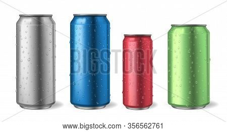 Aluminium Cans With Water Drops. Realistic Metal Can Mockups For Soda, Alcohol, Lemonade And Energy