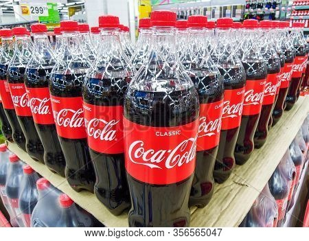 Samara, Russia - March 18, 2020: Coca Cola Drinks Ready For Sale On The Shelf In Superstore. Various