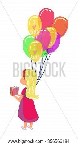 Child Daughter In Pink Dress Give Present Box Vector Illustration. Cartoon Little Girl With Balloon
