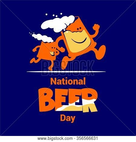 National Beer Day Vector Illustration In Flat Style. Two Jolly Mugs Of Beer