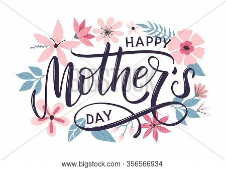 Happy Mothers Day Greeting Card With Modern Doodle Flowers Background. Happy Mothers Day Typography