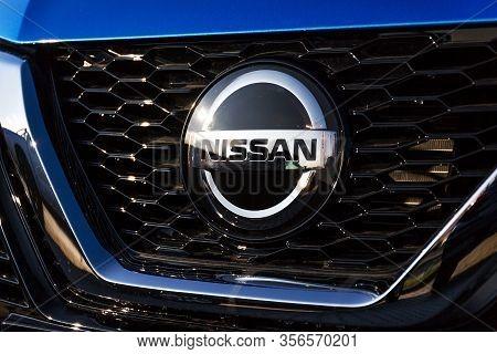 Prague, Czech Republic - December 13 2018: Nissan Motor Company Car Standing In Front Of Dealership