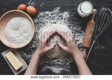 Beat Flour And Kitchen Utensils, A Baking Dish, A Rolling Pin With Eggs On The Table. Baking, Cookin