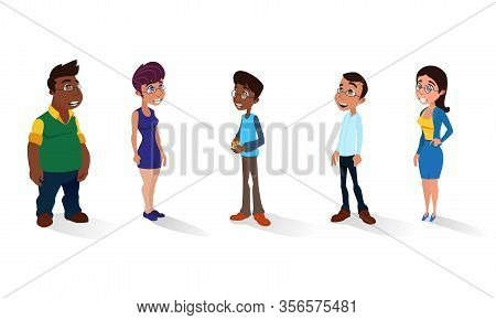 Diverse Multiracial People Wearing Eyeglasses Set Isolated On White. Casting, Movie Producing, Film