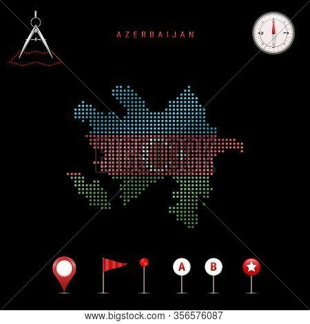 Dotted Map Of Azerbaijan Painted In The Colors Of The National Flag Of Azerbaijan. Waving Flag Effec