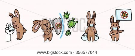 Corona Virus Kids Cartoon Fight Set Infographic. Viral Flu Info Cute Bunny. Educational Graphic With