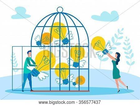 Flight Of Fancy Metaphor Flat Vector Illustration. Creative People Holding Winged Lightbulbs In Bird