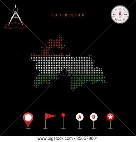 Dotted Map Of Tajikistan Painted In The Colors Of The National Flag Of Tajikistan. Waving Flag Effec