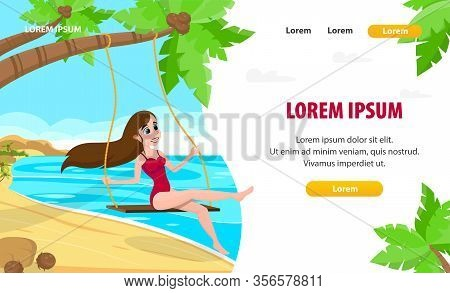 Landing Page Layout. Cartoon Female Character Swings On Swing Hanging On Tropical Palm. Exotic Islan