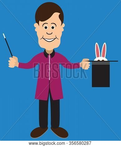 A Flat Vector Cartoon Magician Is Trying To Coax A Shy Rabbit Out Of His Hat