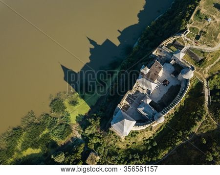 Medieval Fortress In The Khotyn Town West Ukraine. The Castle Is The Seventh Wonder Of Ukraine.