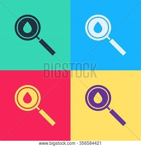 Pop Art Oil Drop Icon Isolated On Color Background. Geological Exploration, Geology Research. Vector