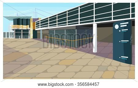 Parking Lot For Block House Illustration. Modern Parking Garage With Banner Outdoors. City Concept