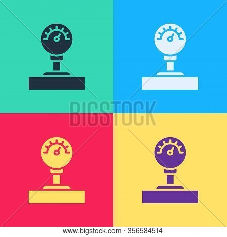 Pop Art Gauge Scale Icon Isolated On Color Background. Satisfaction, Temperature, Manometer, Risk, R