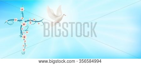 Flowered Christian Cross And Flying Dove. Christian Sign. Easter. Sign Of Purity. Christian Faith. B