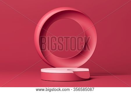 Creative Pink Round Showcase With Empty Space. Pedestal With Round Geometric Figure On Pink Backgrou
