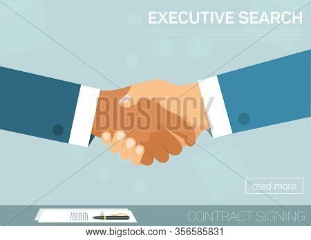 Executive Search Flat Cartoon Vector Illustration Landing Page. Handshake Gesture For Successful Dea