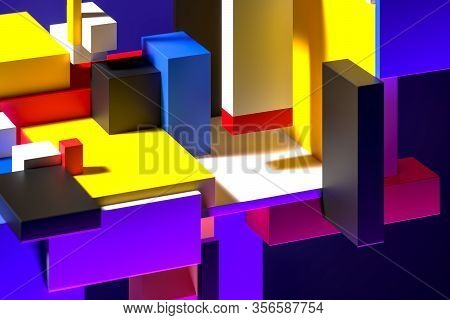 Modern Showcase On Abstract Colorful Figures. Empty Space. Copy Space. Abstract Pattern. Suprematism