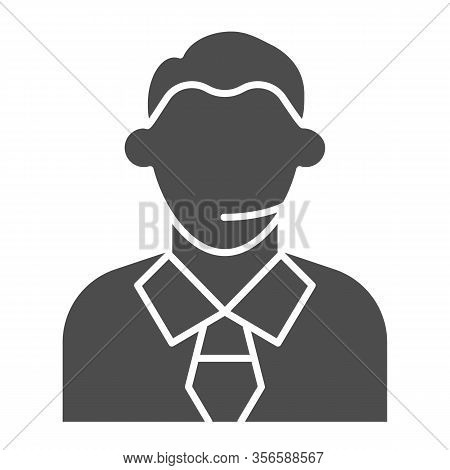 Football Or Soccer Commentator Solid Icon. Human With Headset, Fan Support Symbol, Glyph Style Picto