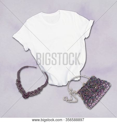 White Tshirt And Purple Fashion Accessories For Women.  Styled Product Photo With A Purple Glittery