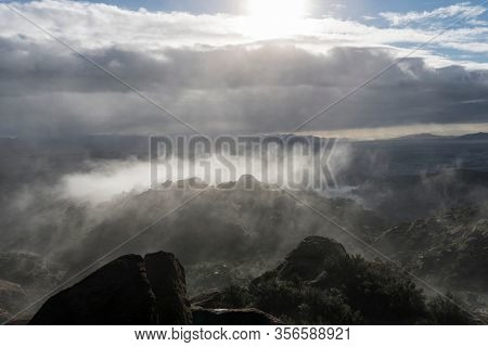 Foggy sunrise view from the Santa Susana Mountains in Los Angeles California.