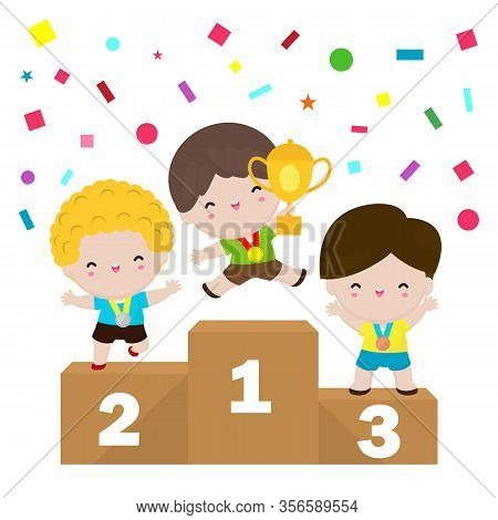 Medalists Kids Boys Standing On Competition Winner Podium, Children With Medals For Victory Stand On