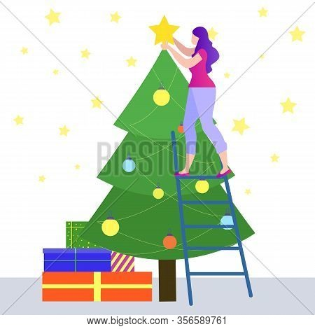 Idea Generation. Woman Standing On Stairs Decorating Christmas Tree. Reward For New Idea. Celebrate