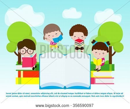 Back To School, Cute Kids Reading Book, Education Concept, Kids Go To School, Template For Advertisi