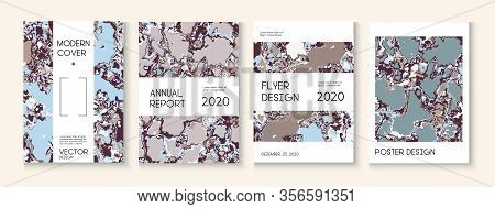 Geographic Map Fluid Paint Vector Cover. Brown Red Earth Soil Volcano Design. Medical Earth Day Ecol