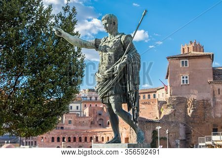 Bronze Monumental Statue Of The First Emperor Caesar Augustus In The Center Of Rome, Italy