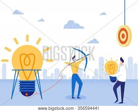 Ideas Startup And Focus On Target Business Motivator. Cartoon Businessman Aims With Bow At Dartboard