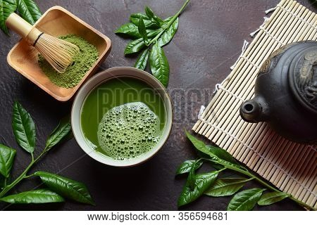Green Matcha Tea Drink And Tea Accessories On White Background. Japanese Tea Ceremony Concept. Detox