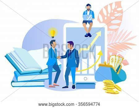 Organization Has Achieved Its Goal Cartoon Flat. Short-term And Long-term Tasks. Men In Suits Enter