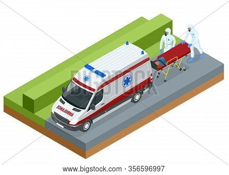Isometric Ambulance Emergency Paramedic Carrying Patient In Stretcher. Emergency Medical Service.