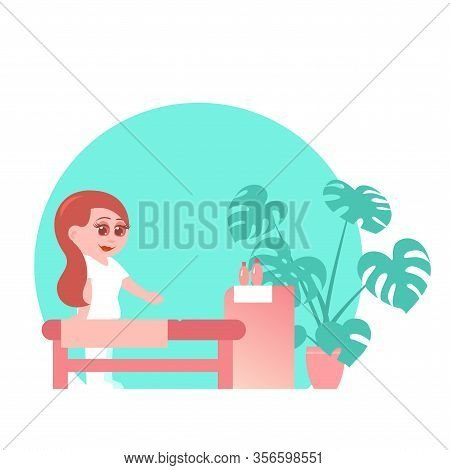 Cute Girl Masseur In The Salon. Table, Bedside Table With Oils, A Pot Of Flowers. Cartoon Flat Style