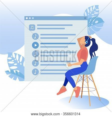 Girl In Headphones Sitting On High Chair On Background Playlist Screenshot. Coworking Center. Vector