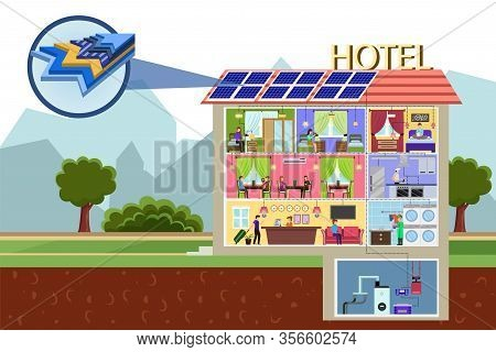Photovoltaic Cell Panel Section Structure. Hotel Building With Solar Batteries On Roof Vector Illust