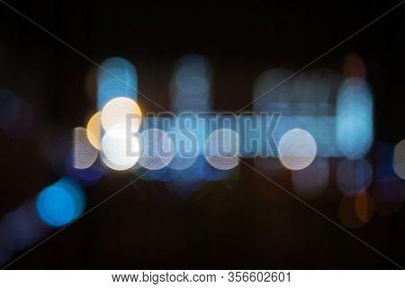 Cool Color Bokeh Large Circles Of Light Scattered Celebration Atmosphere