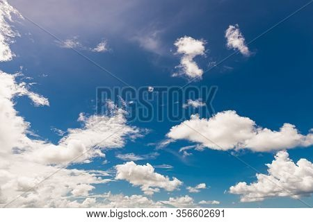 Blue Color Sky White Clouds Low Level Bright Fresh Sparse Heavenly Fluffy