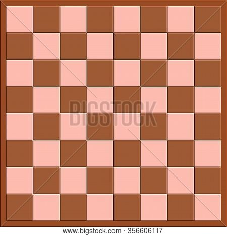 Checkerboard Cells Of A Board Game For Figures. Template For Text. Background Image. Checkers. Table