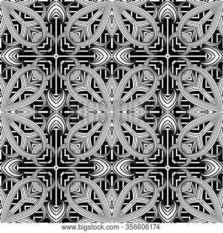 Floral Intricate Seamless Pattern. Vector Abstract Black And White Background. Line Art Tracery Hand
