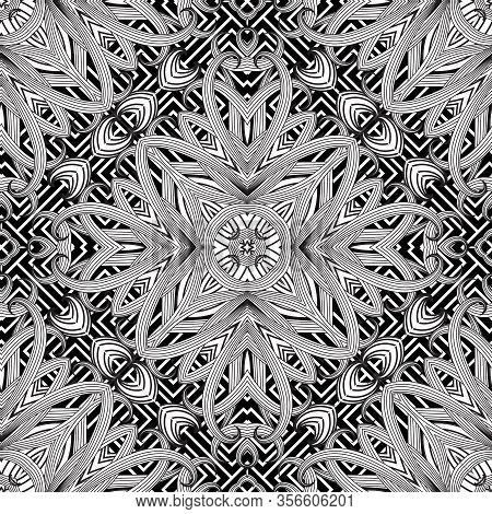 Greek Floral Intricate Seamless Pattern. Vector Abstract Black And White Background. Line Art Tracer