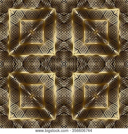 Gold 3d Textured Vector Seamless Pattern. Intricate Lines Surface Background. Repeat Ornate Golden B