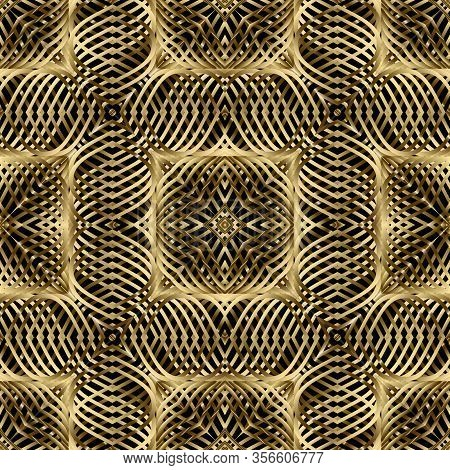 Gold 3d Textured Vector Seamless Pattern. Intricate Lines Surface Background. Repeat Modern Golden B