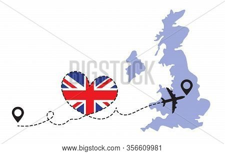 Travel To Great Britain By Airplane Concept. I Love Great Britain Vector Illustration