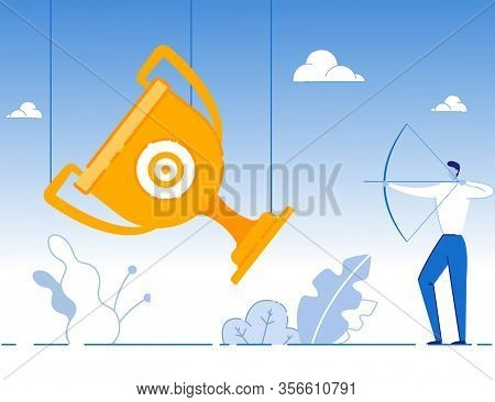 Cartoon Businessman Aiming With Bow At Target On Gold Trophy Cup. Reaching Financial Goals. Business