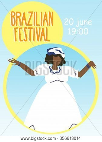 Black Woman In White Carnival Dress Invitation Card. Brazilian Festival. Party Invitation. People Ce